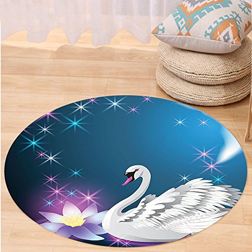 [Kisscase Custom carpetAnimal Decor Magic Lily and Fairy Swan at Night Swimming in the Lake under Moon and Stars Picture Art Bedroom Living Room Dorm Decor Blue White] (7 Swans A Swimming Costume)