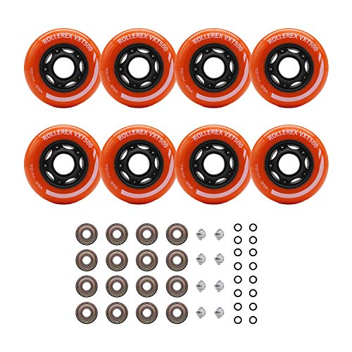 Rollerex Inline Skate/Rollerblade Wheels VXT500 80mm (8-Pack or 2-Pack or 2 Wheels w/Bearings, Spacers and Washers) (72mm Sunrise Orange (8 Wheels w/Bearings, spacers and washers)) ()