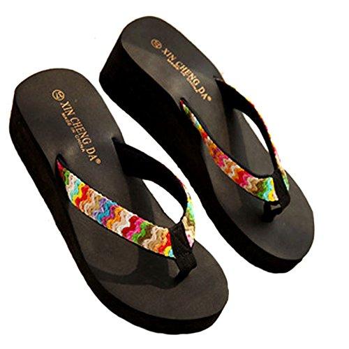 ℱLOVESOℱ Floral Ribbon Satin High Heel Beach Sandals Wedge Platform Thongs Slippers Flip Flops Summer Black by ℱLOVESOℱ (Image #4)