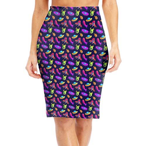 Alien UFO Women's Slim Skirt Fit Knee Length Pencil Skirts White