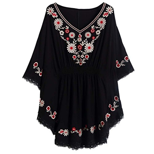 Kafeimali Women's Batwing Dressy Tunic Peasant Tops Mexican Embroidery Blouse (Black)