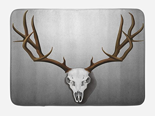 Lunarable Antler Bath Mat, Realistic Deer Skull with Large Horns Elk Skeleton on Abstract Backdrop Print, Plush Bathroom Decor Mat with Non Slip Backing, 29.5 W X 17.5 L Inches, White Brown