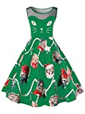 Women's Vintage Sleeveless Christmas Dresses Cute Cat Kitten Print Party Swing Dress