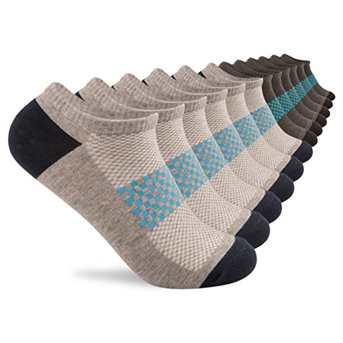 Tech Socks Silver - YingDi No Show Low Cut Athletic Antibacterial Socks for Men and Women - Size L pack of 6 pairs