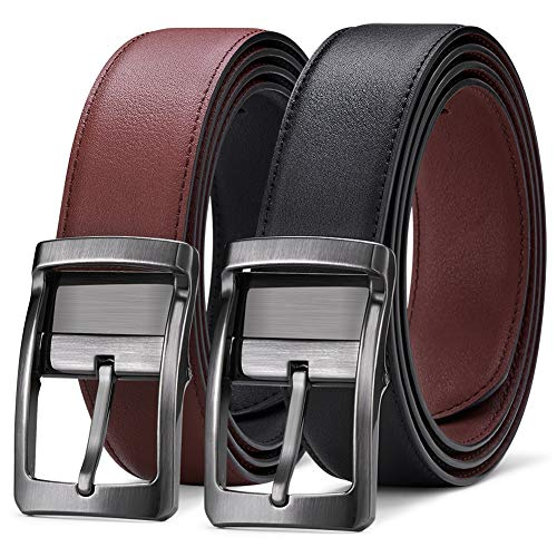 Mens Leather Belt,Reversible and Adjustable Belts for Man with Rotated - Gents Leather