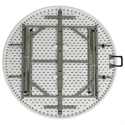 60.5'' Round Bi-Fold Granite Folding Table in White + Expert Guide