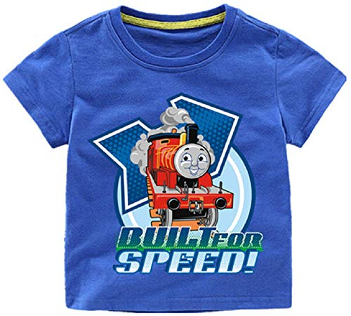 Thomas Train and Friends Built for Speed Short Sleeve Cotton T-Shirt for Toddler Boys Girls 2-12Yrs(Blue, 4T)