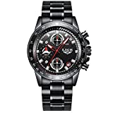 Watches Mens Steel Band Quartz Analog Wrist Watch with Chronograph Waterproof Sports Black Watch