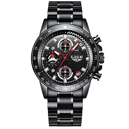 Watches Mens Steel Band Quartz Analog Wrist Watch with Chronograph Waterproof Sports Black Watch by Dayllon