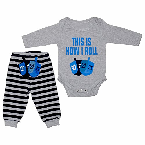 Unique Baby Boys This Is How I Roll Hanukkah Layette Set (9 Months)