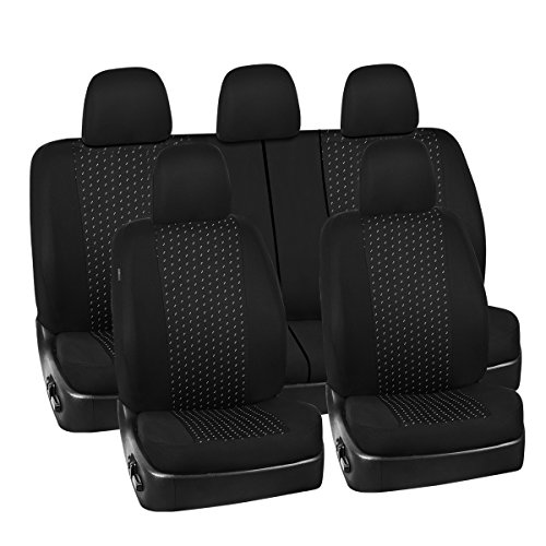 (NEW ARRIVAL- CAR PASS 11PCS Supreme Universal Jacquard Car Seat Covers Set -Universal fit for Vehicles,Cars,SUV,Airbag Compatible(Black and Gray))