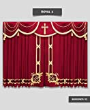 Saaria Royal-1 Church Event Hall Club Stage Velvet Curtains School Stage Movie Theater Drapes 12'W x 8'H Burgundy-01