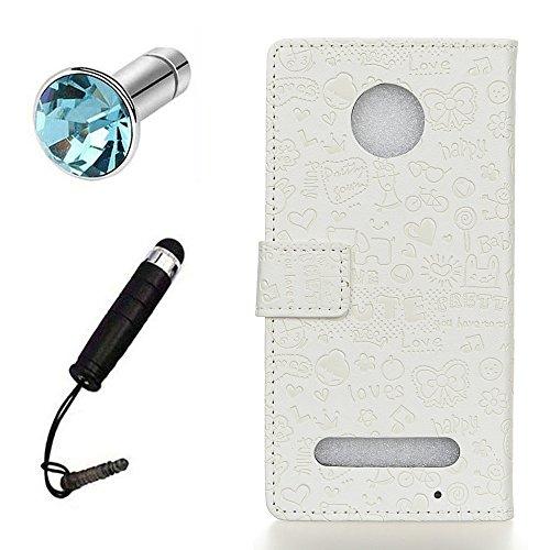 Lusee® PU Caso de cuero sintético Funda para Motorola Moto Z2 Cubierta con funda de silicona botón pequeña bruja lilac pequeña bruja blanco