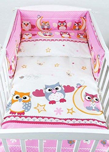 BABYLUX Bettwäsche Bezug 2 Tlg. 100 x 135 cm Kinderbettwäsche Bettwäsche Bettset Babybettwäsche EULE (56. Eule Rosa)
