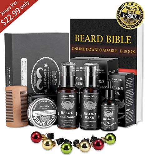 SuperDeal Beard Shampoo Wash & Conditioner, Oil, Balm Care Set Grooming kitPerfect Christmas Gifts for Men Dad Beard Rapid Growth and Thickening, Beard Ornaments, Mustache Comb Bonus are Included