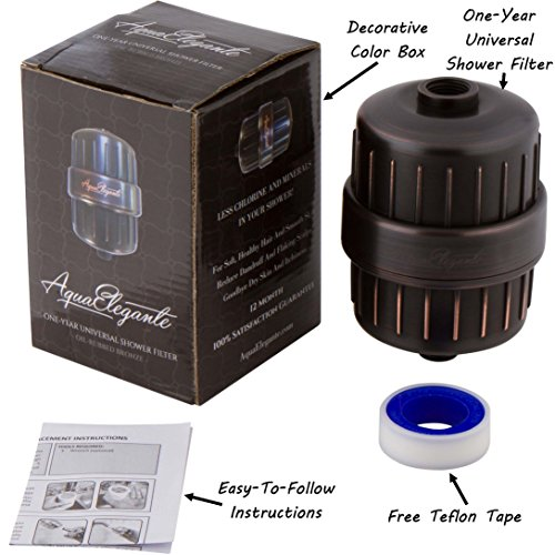 usa free shipping aqua elegante one year universal shower filter ultimate c. Black Bedroom Furniture Sets. Home Design Ideas