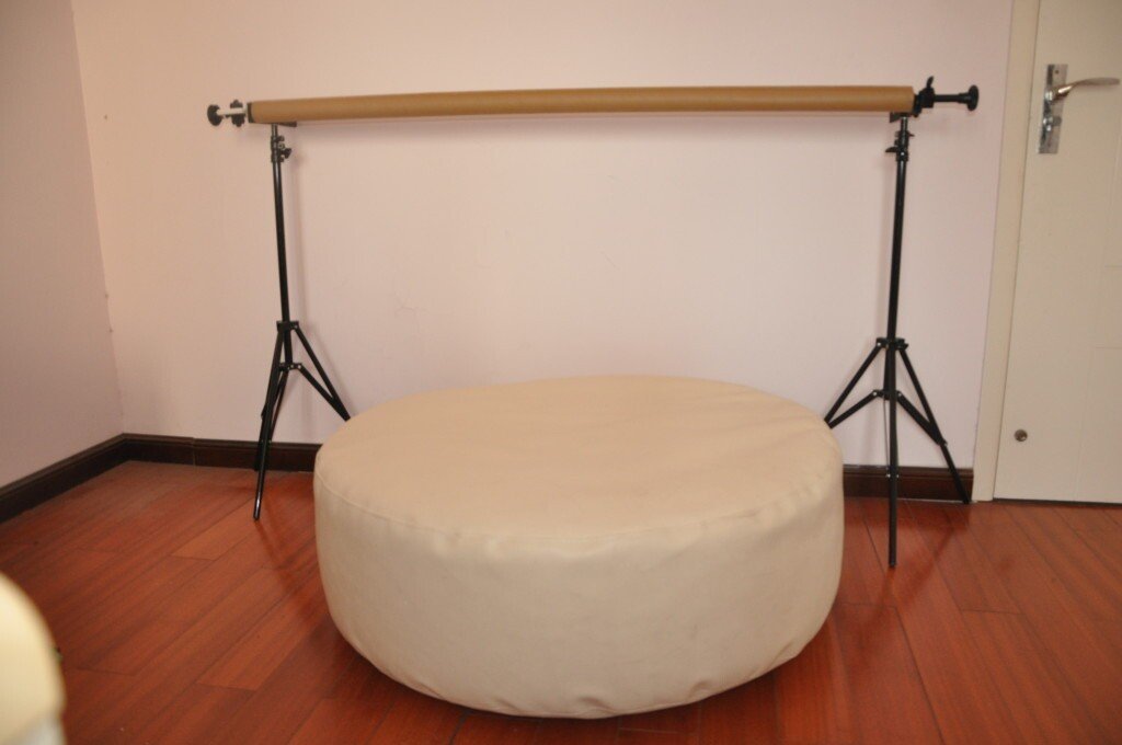 Round White Newborn Posing Bean Bag 80X40 Photo Prop by backdropday (Image #3)