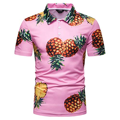 Allywit-Mens Pineapple Print Beach Polo Shirt (Sizes M-2XL) Cool Quick-Dry T-Shirt Top Pink