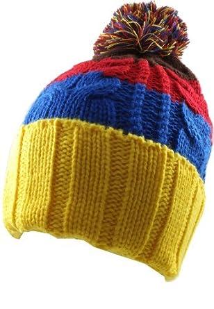 8f08951c3a0 Retro Bar Bobble Pom Pom Ski Hat-Yellow