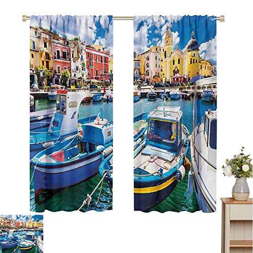 Gloria Johnson Italyblackout curtainColorful Procida Island with Fishing Boats Summertime Tourism Vacation Travel Themedrapes panelsMulticolor63 x 45 inch