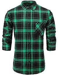 Men's Casual 100% Cotton Slim Fit Long Sleeve Stylish Plaid Dress Shirt