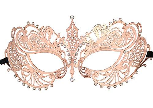 Pretty Woman Red Opera Dress Costume (Party Mask Crown Mask Rose Red Laser Cut Metal Women's Masquerade Mask Mardi Gras Mask)