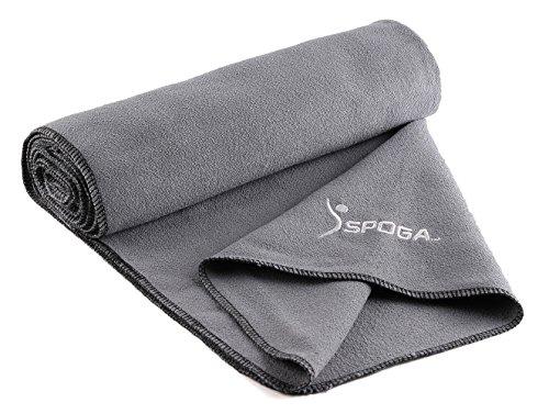 Spoga Microfiber Super Absorbent Anti-Slip Yoga Towel, Grey, 24