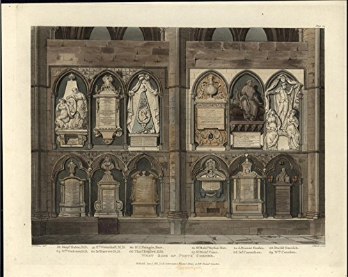 West Poets Corner Westminster Abbey 1811 antique aquatint Ackermann print