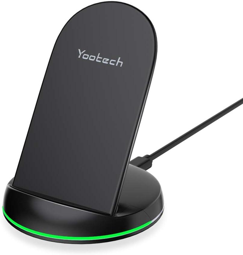 yootech Cargador Inalámbrico, Carga Rápida 10W para Galaxy S20/S20 Ultra/Note 10/S10/S10+/S10E/Note 9/S9+/S8/Note 8, 7.5W para iPhone SE 2020/11/11 Pro/11 Pro MAX/XS MAX/XR/XS/X/8+/8 (NO Adaptador)