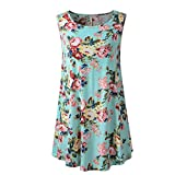 unique scrub tops - Trendinao Women's Floral Swing Tunic Flare Pleated Tank Top Sleeveless Blouse Shirt