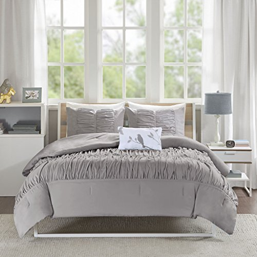Mi Zone Mirimar King/Cal King Size Bed Comforter Set - Grey , Pleated Ruched Ruffles - 4 Pieces Bedding Sets - Ultra Soft Microfiber Bedroom ()