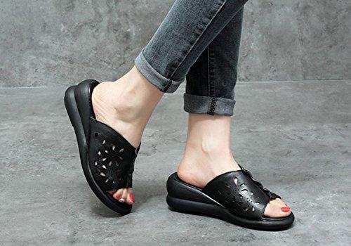 La La Verano 5cm L Zapatillas Negro De Color ZCJB Mujer Tamaño Plataforma Parte De Exterior Desgaste Cuero Moda Inferior Sandalias De EU38 23 De UK5 Grueso Tacón OSXFqT