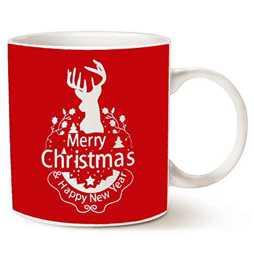Christmas Gifts Holiday Coffee Mug, Wish You a Merry Christmas and Happy New Year Rangifer Tarandus Ceramic Cup, Red 14Oz by - And Wishes Happy Christmas Year New