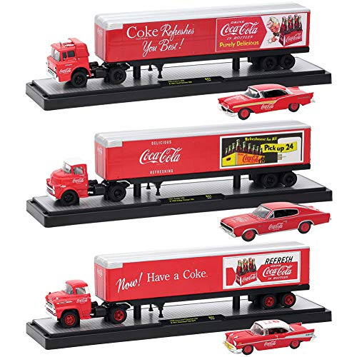 (Auto Haulers Coca-Cola Release, 3 Trucks Set 1/64 Diecast Models by M2 Machines)