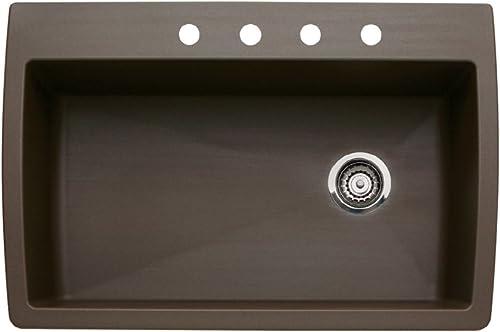 Blanco 440192-4 Diamond 22-In X 33.5-In Single-Basin Granite Multi-Mount 4-Hole Kitchen Sink, Cafe Brown