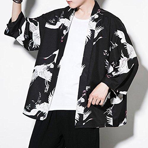 Delgado Jacket Moda Hombres Loose Kimono Juventud Short Front Capa 4 Manga Casual Cloak Open 3 White Black Zhhlaixing Verano 8tpSAq8w