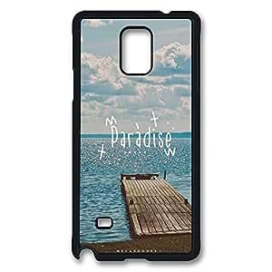VUTTOO Rugged Samsung Galaxy Note 4 Case, Paradise Beach Dock Case for Samsung Galaxy Note 4 N9100 PC Black