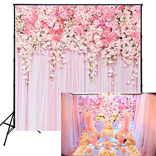 Muzi Pink Flowers Wall Photography Backdrops Rose Floral Spring Photo Background Baby Shower Wedding Studio Photographers Dessert Table Decor Booth Art Fabric Props 5x5ft -