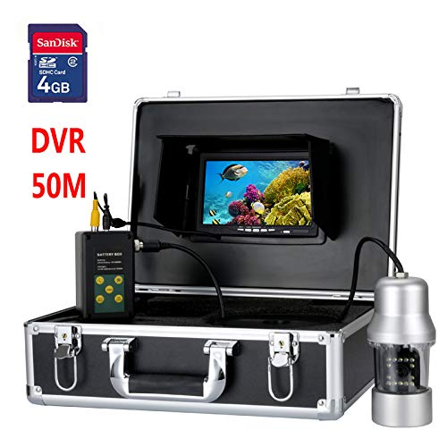 (HONGSHENG 7 Inch TFT DVR Recorder 50M Underwater Video Fishing Camera System 0-360 Degree View, Remote Control, 14 x White Lights)