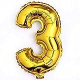 "Giant Golden 40""Number 0-9 Aluminum Foil Digital Balloons forDecoration (Digital ""3"")"