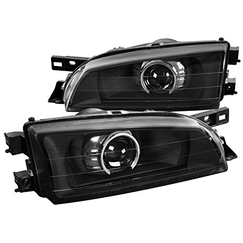 For 95-01 Subaru Impreza Retro Fit Projector Headlights Black Head Lamps Pair