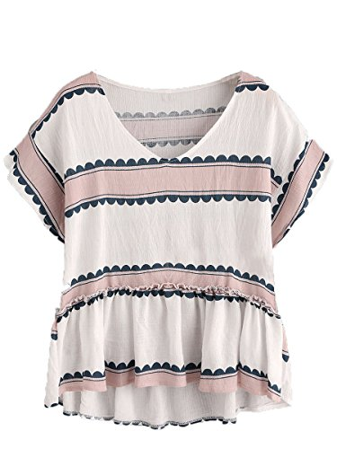 Floerns Women's Babydoll Short Sleeve Print Frill Hem Blouse Top Multicolor XL