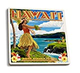 Hawaii Hula Girl on Coast - Merrie Monarch Festival (Set of 4 Ceramic Coasters - Cork-backed, Absorbent)
