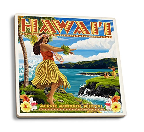 Hawaii Hula Girl on Coast - Merrie Monarch Festival (Set of 4 Ceramic Coasters - Cork-backed, Absorbent) by Lantern Press