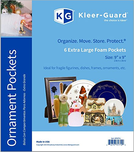 """UPC 616797317100, Kleer-Guard White Foam Pockets/Pouches. 9""""x9"""". 6/pk. (Ornament/Fragile Items) - Extra Large"""
