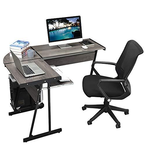 GreenForest Office Desk Corner L Shaped Workstation Laptop Table with Keyboard,Walnut by GreenForest (Image #2)