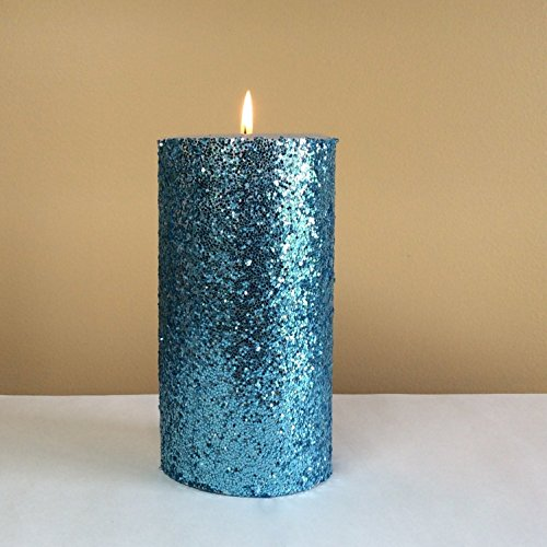 Light Blue Glitter Pillar Candle Unscented - Choose 4, 6, 9 Inches (Sparkle Pillar Candles)