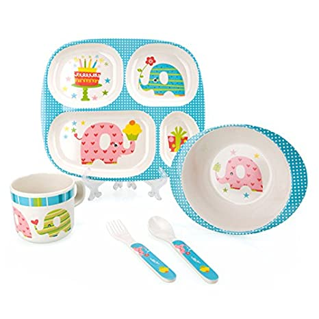 Baby Plates Bowl Bamboo Baby Eating Flatware Set W/ Spoon Blue Kitchenware Baby Cups, Dishes & Utensils