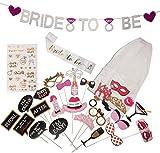 Bachelorette Party Supplies - Bride to be Decorations kit: sash Banner Veil Props.