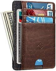 Slim Minimalist Wallet Card Holder, Fintie RFID Blocking Money Pocket with ID Window Credit Card Slot Cases (Brown)